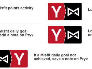 Track your Misfit achievements, log meals and record your performance via IFTTT Pryv/Misfit.